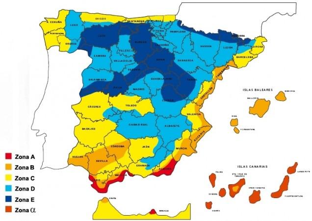 Mapa de zonas climáticas del CTE – Fuente: Andimat